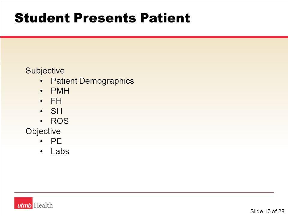 Slide 13 of 28 Student Presents Patient Subjective Patient Demographics PMH FH SH ROS Objective PE Labs