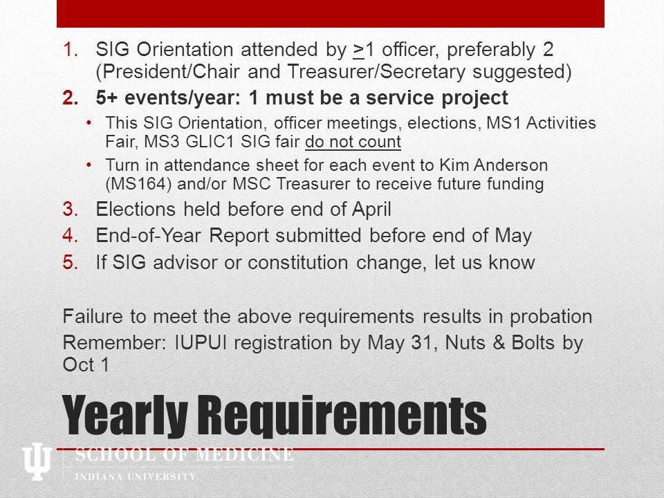 IUPUI RSO Re-registration 1.Fill out the NEW form (No longer on MyInvolvement.)Fill out the NEW form 2.Once submitted, SIG Advisor receives auto-generated email asking them to login and confirm their advisorship Your application will not even be looked at by IUPUI until this is done.