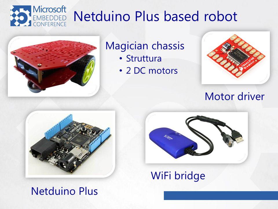 Netduino Plus based robot Magician chassis Struttura 2 DC motors Motor driver WiFi bridge Netduino Plus
