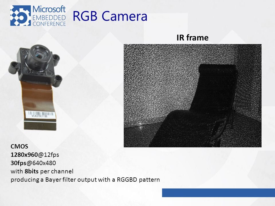 RGB Camera CMOS 1280x960@12fps 30fps@640x480 with 8bits per channel producing a Bayer filter output with a RGGBD pattern IR frame