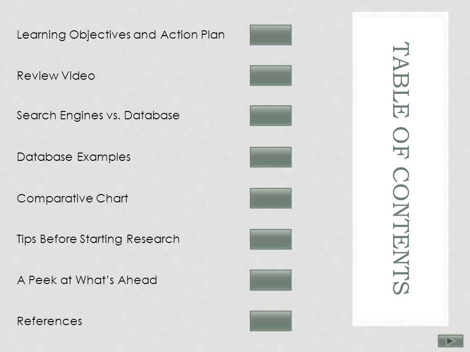 TABLE OF CONTENTS Learning Objectives and Action Plan Review Video Search Engines vs.