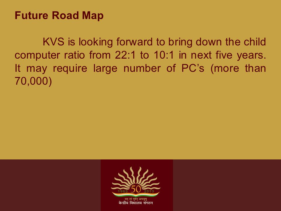 Future Road Map KVS is looking forward to bring down the child computer ratio from 22:1 to 10:1 in next five years. It may require large number of PC'