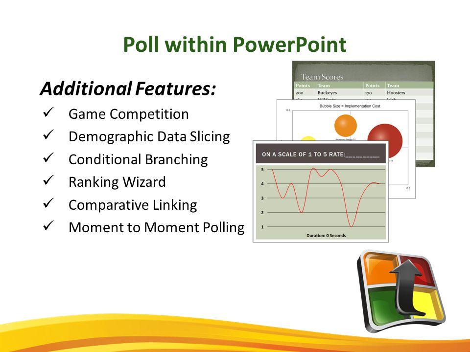 Poll within PowerPoint Game Competition Demographic Data Slicing Conditional Branching Ranking Wizard Comparative Linking Moment to Moment Polling Additional Features: