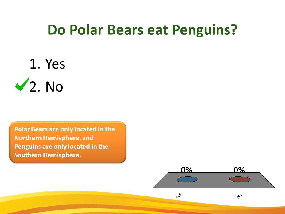 1.Yes 2.No Do Polar Bears eat Penguins.