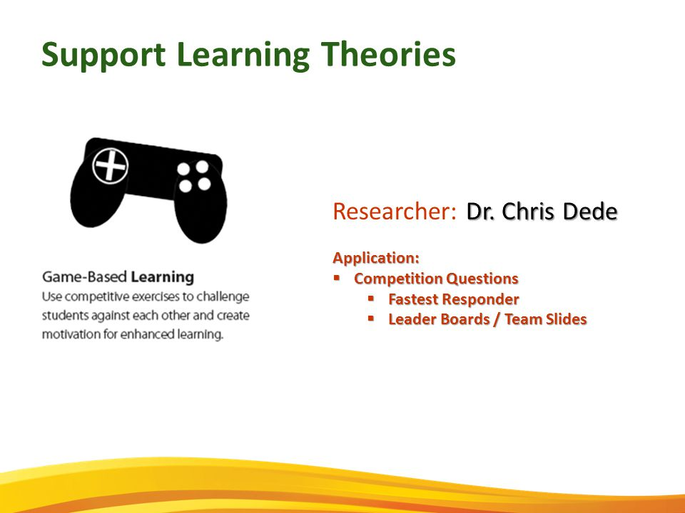 Support Learning Theories Dr. Chris Dede Researcher: Dr.