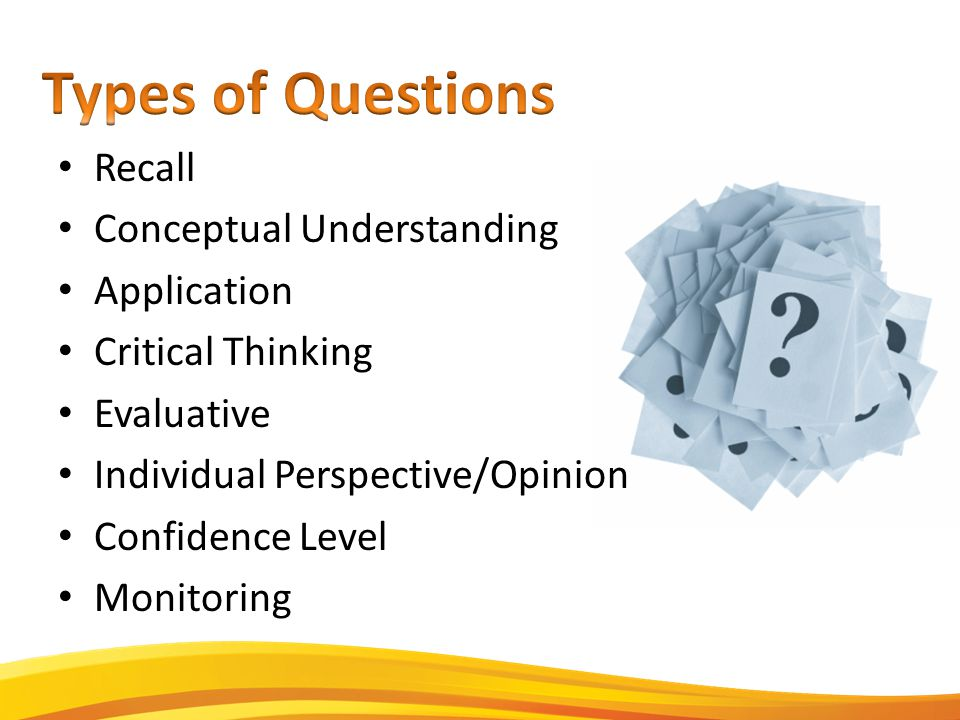 Recall Conceptual Understanding Application Critical Thinking Evaluative Individual Perspective/Opinion Confidence Level Monitoring