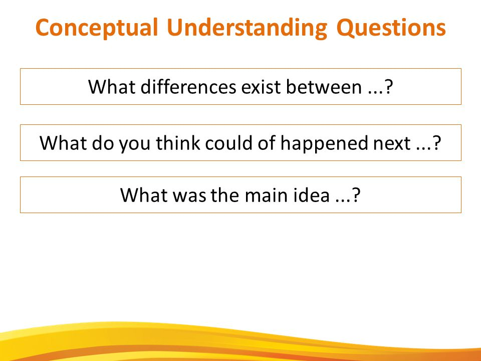 What differences exist between.... Conceptual Understanding Questions What was the main idea....