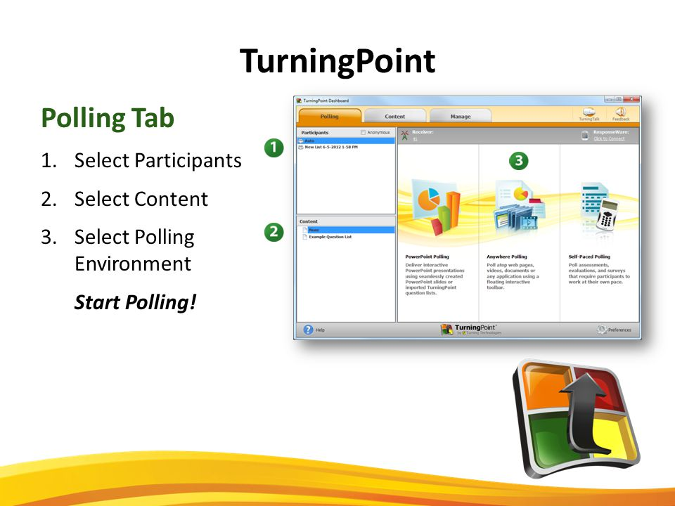 TurningPoint Polling Tab 1.Select Participants 2.Select Content 3.Select Polling Environment Start Polling!