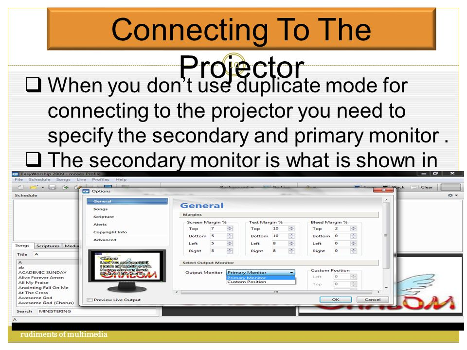 Connecting To The Projector  Right click on the desktop  Click on screen resolution  Click on connect to a projector