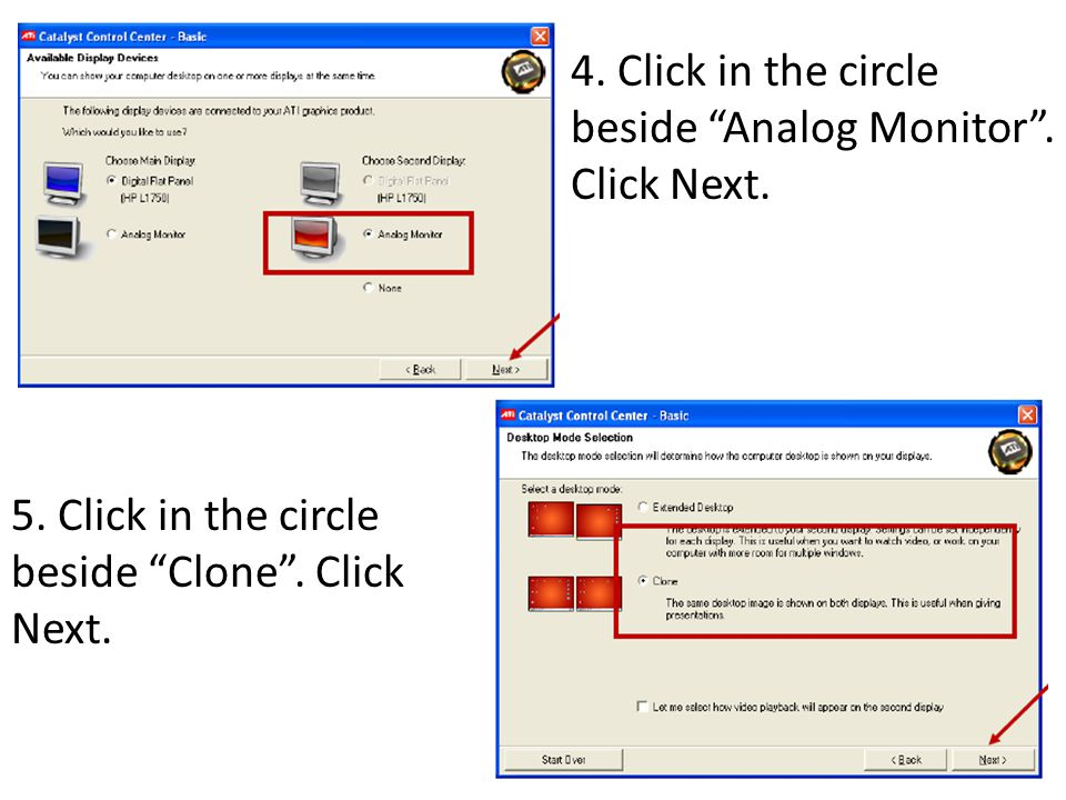 4. Click in the circle beside Analog Monitor . Click Next.