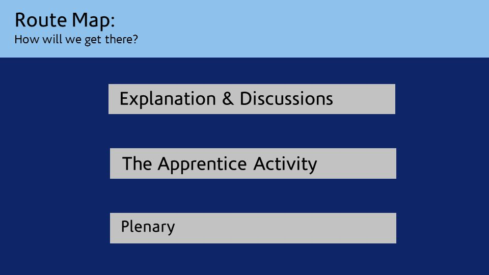 Route Map: How will we get there Explanation & Discussions The Apprentice Activity Plenary