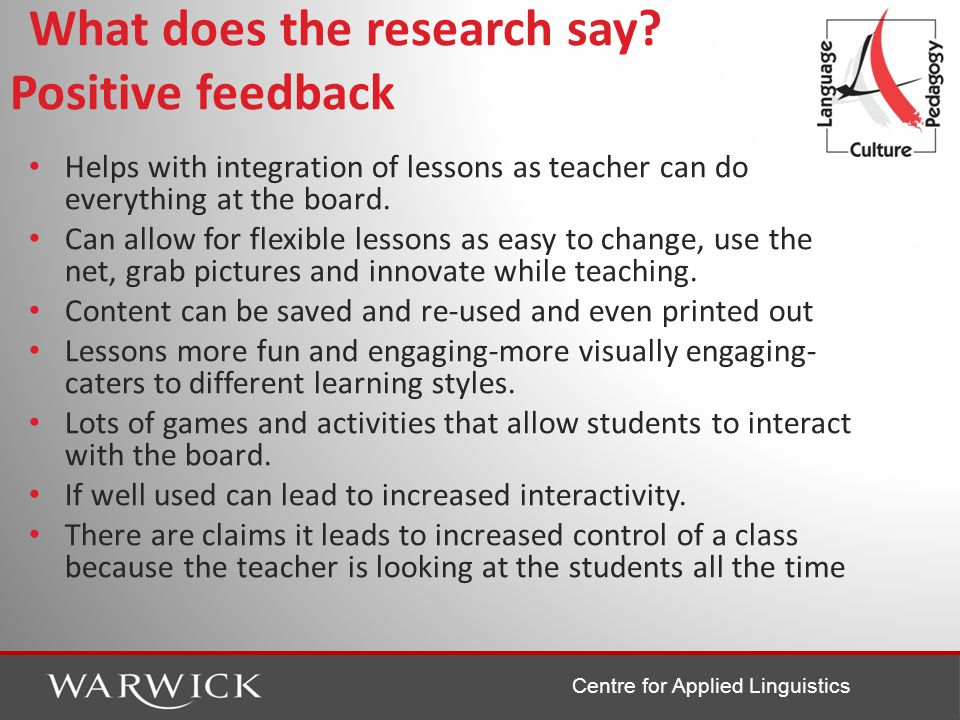 Centre for Applied Linguistics What does the research say.