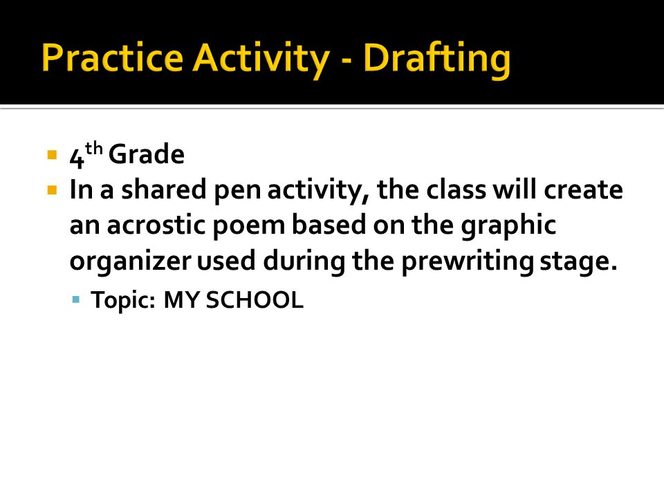  4 th Grade  In a shared pen activity, the class will create an acrostic poem based on the graphic organizer used during the prewriting stage.