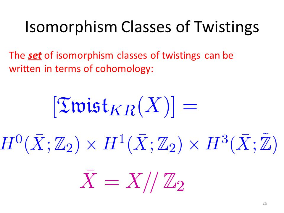 Isomorphism Classes of Twistings 26 The set of isomorphism classes of twistings can be written in terms of cohomology: