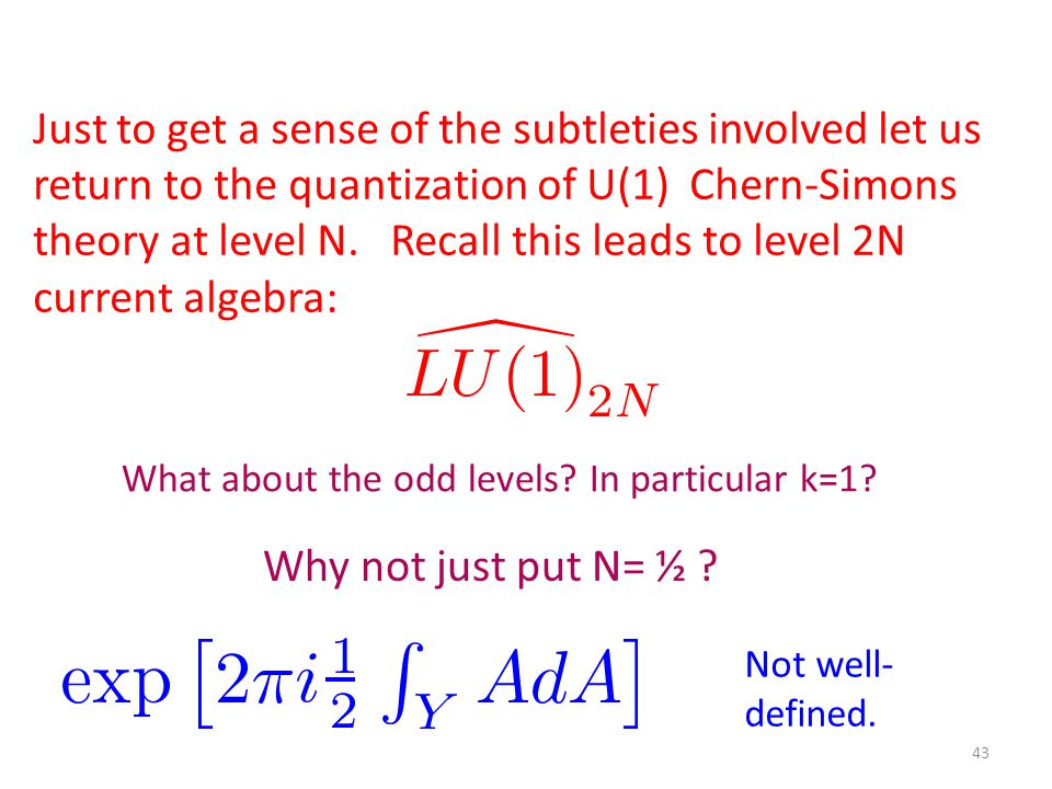 43 Just to get a sense of the subtleties involved let us return to the quantization of U(1) Chern-Simons theory at level N.