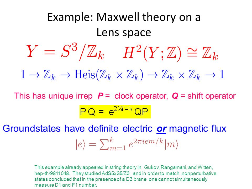 Example: Maxwell theory on a Lens space This has unique irrep P = clock operator, Q = shift operator Groundstates have definite electric or magnetic flux This example already appeared in string theory in Gukov, Rangamani, and Witten, hep-th/9811048.