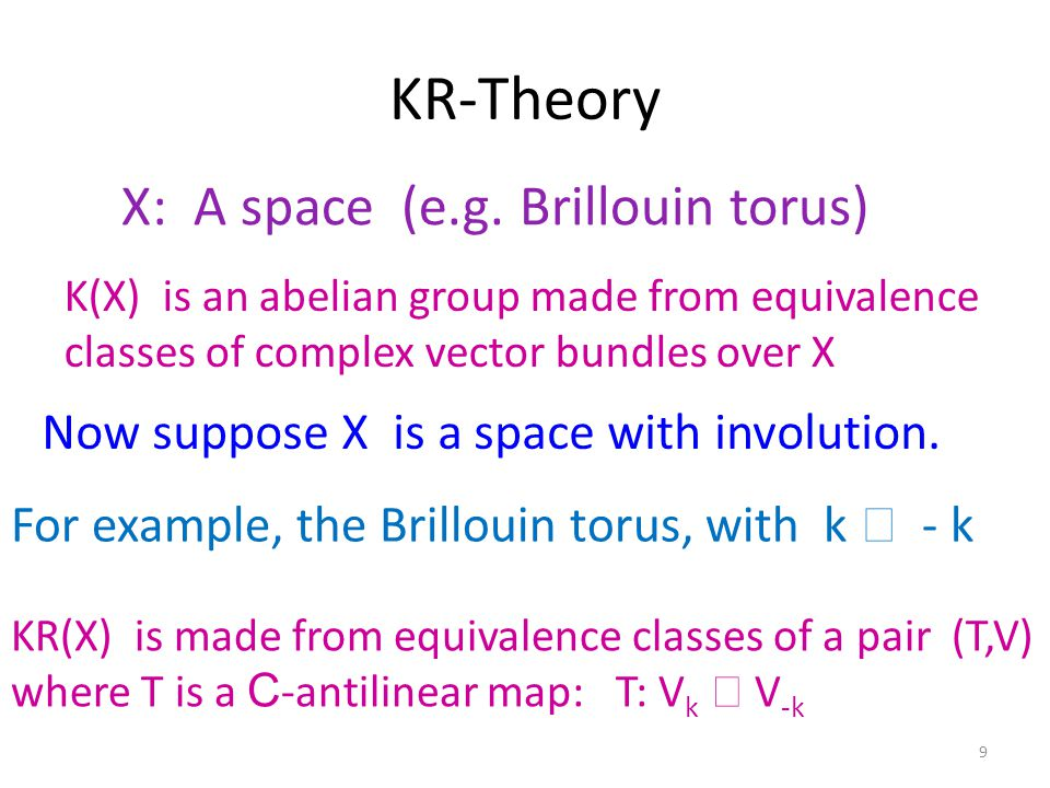 10 But as people studied different kinds of spacetimes and orientifolds there was an unfortunate proliferation of variations of K-theories….