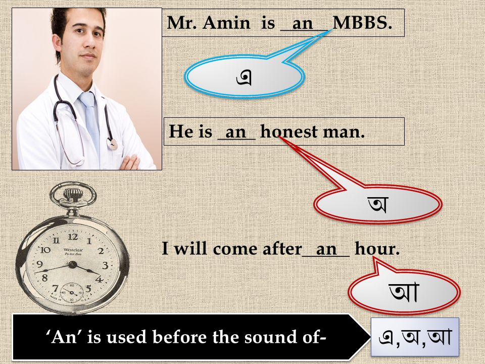 'An' is used before the sound of- Mr. Amin is _____ MBBS. এ এ an He is ____ honest man. অ অ an I will come after_____ hour. আ আ an এ,অ,আএ,অ,আ এ,অ,আএ,অ