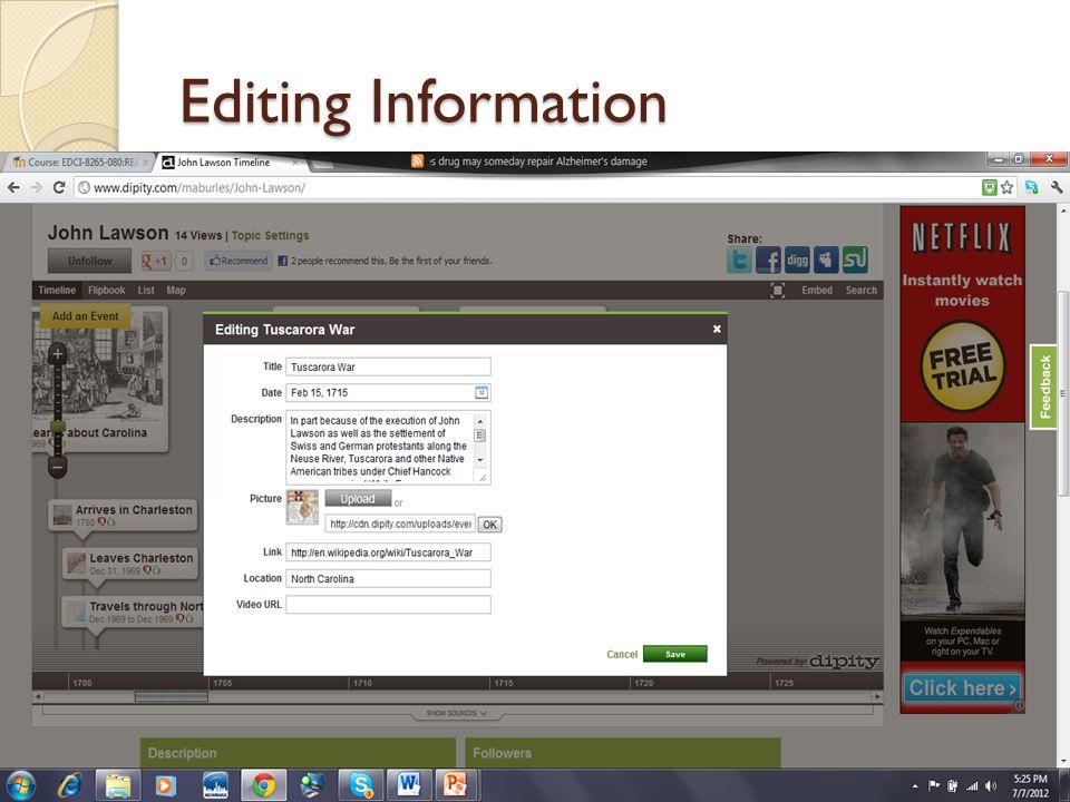 Editing Information