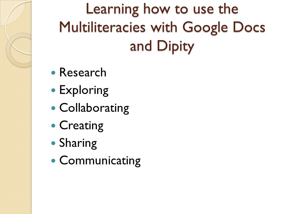 Learning how to use the Multiliteracies with Google Docs and Dipity Research Exploring Collaborating Creating Sharing Communicating