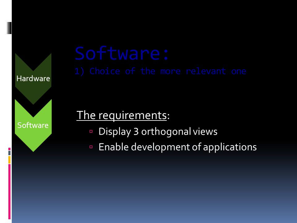 Software Software: 1) Choice of the more relevant one The requirements:  Display 3 orthogonal views  Enable development of applications Hardware