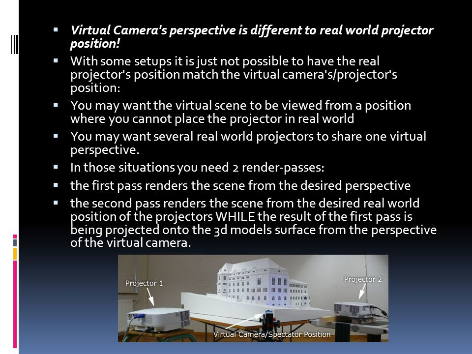  Virtual Camera s perspective is different to real world projector position.
