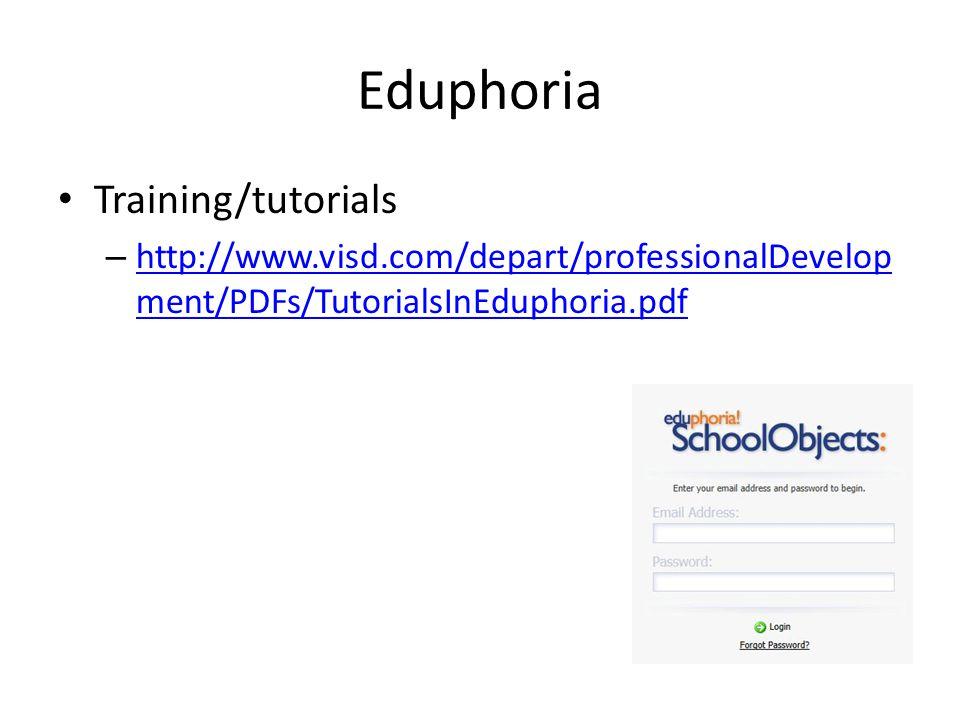 Eduphoria Training/tutorials – http://www.visd.com/depart/professionalDevelop ment/PDFs/TutorialsInEduphoria.pdf http://www.visd.com/depart/professionalDevelop ment/PDFs/TutorialsInEduphoria.pdf
