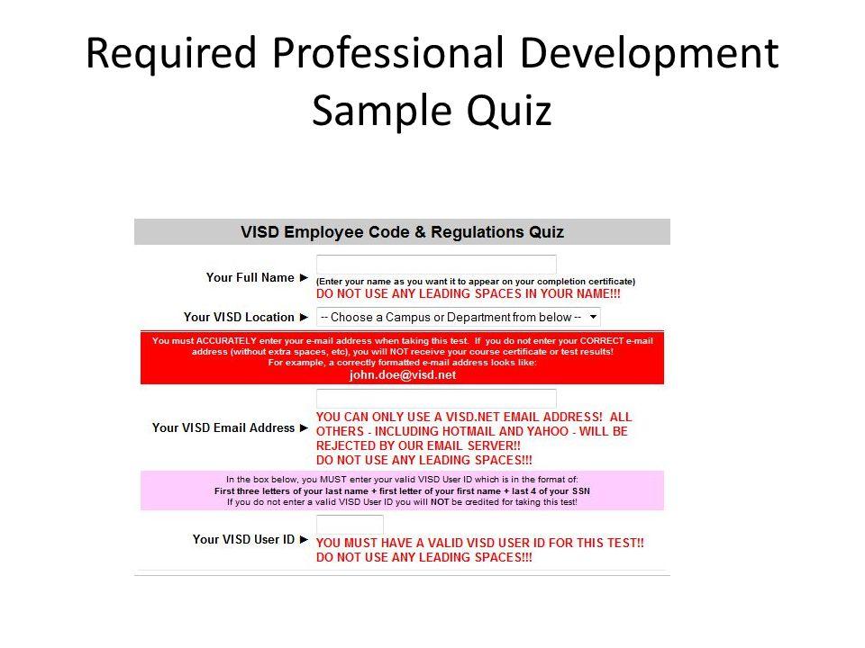 Required Professional Development Sample Quiz