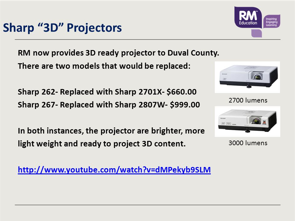 Sharp 3D Projectors RM now provides 3D ready projector to Duval County.