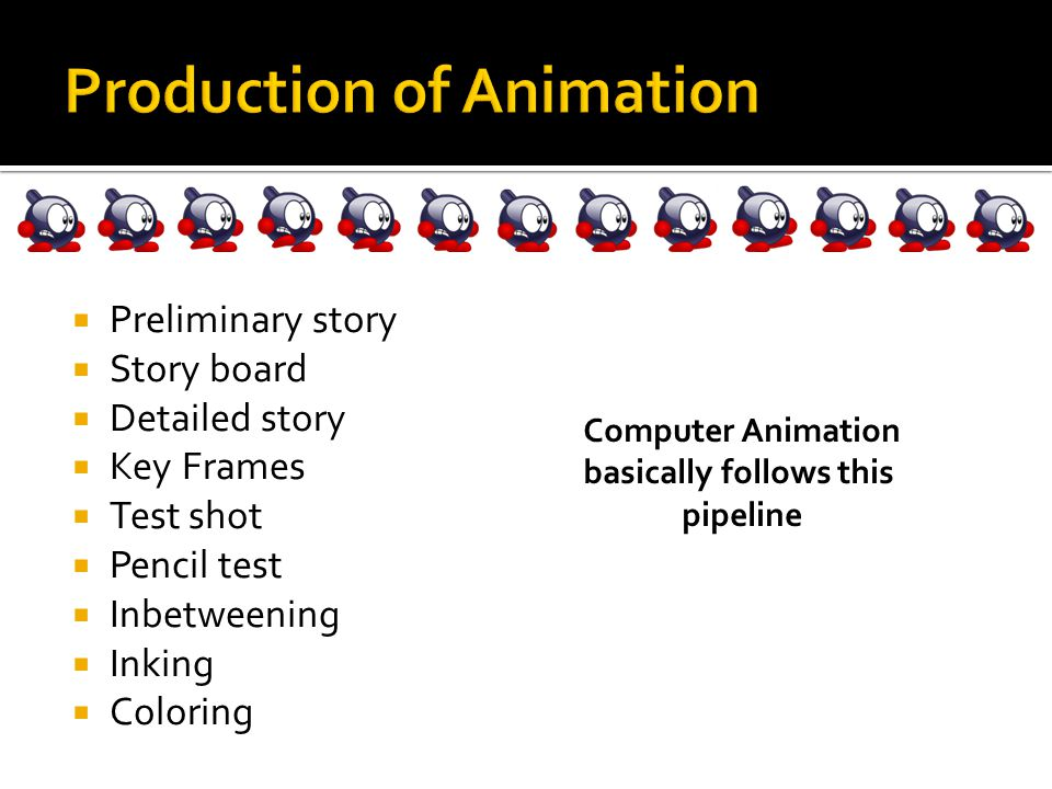  Preliminary story  Story board  Detailed story  Key Frames  Test shot  Pencil test  Inbetweening  Inking  Coloring Computer Animation basically follows this pipeline