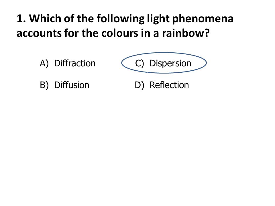1.Which of the following light phenomena accounts for the colours in a rainbow.