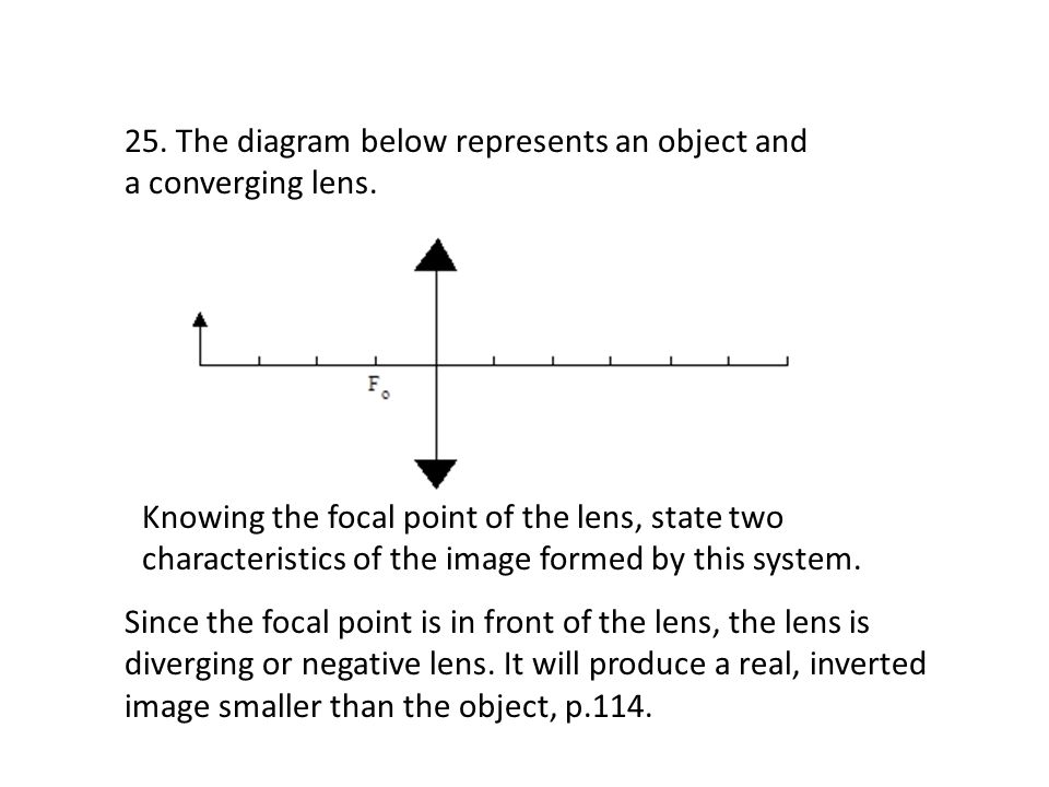 25. The diagram below represents an object and a converging lens. Knowing the focal point of the lens, state two characteristics of the image formed b