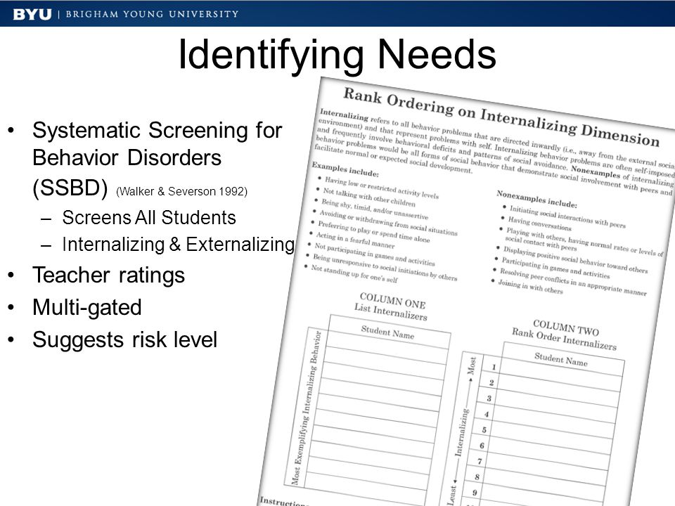 Identifying Needs Systematic Screening for Behavior Disorders (SSBD) (Walker & Severson 1992) –Screens All Students –Internalizing & Externalizing Tea