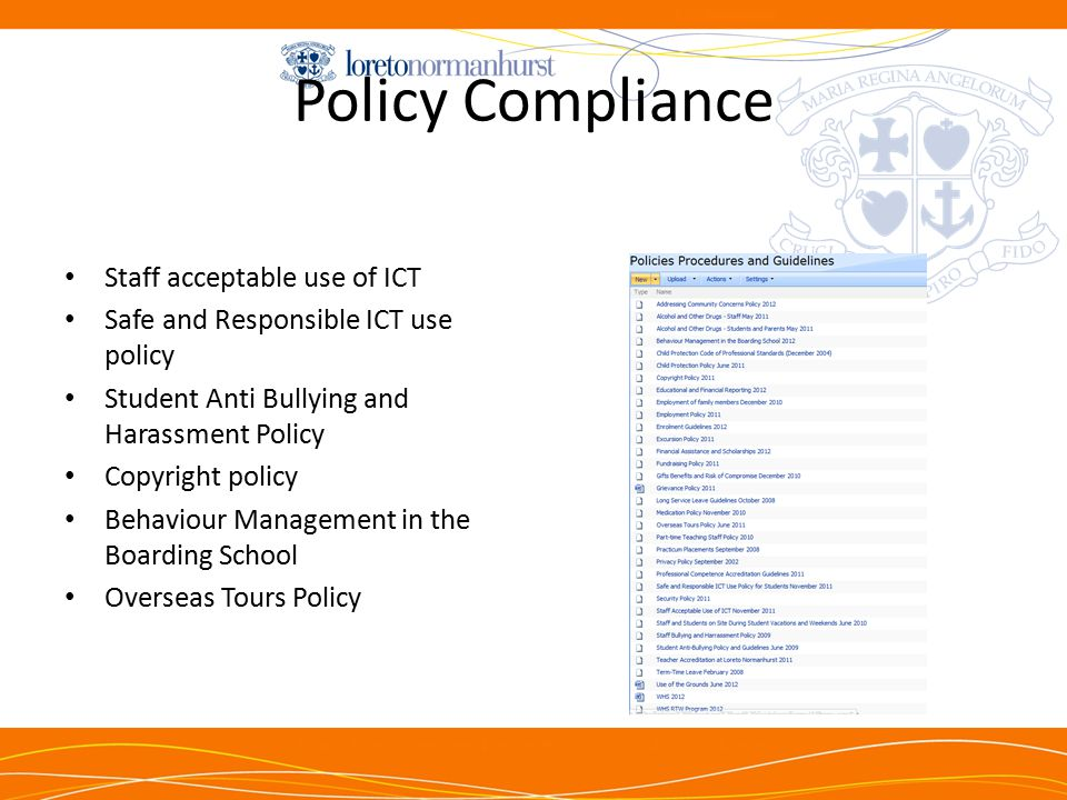 Policy Compliance Staff acceptable use of ICT Safe and Responsible ICT use policy Student Anti Bullying and Harassment Policy Copyright policy Behaviour Management in the Boarding School Overseas Tours Policy