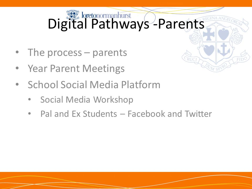 Digital Pathways -Parents The process – parents Year Parent Meetings School Social Media Platform Social Media Workshop Pal and Ex Students – Facebook and Twitter