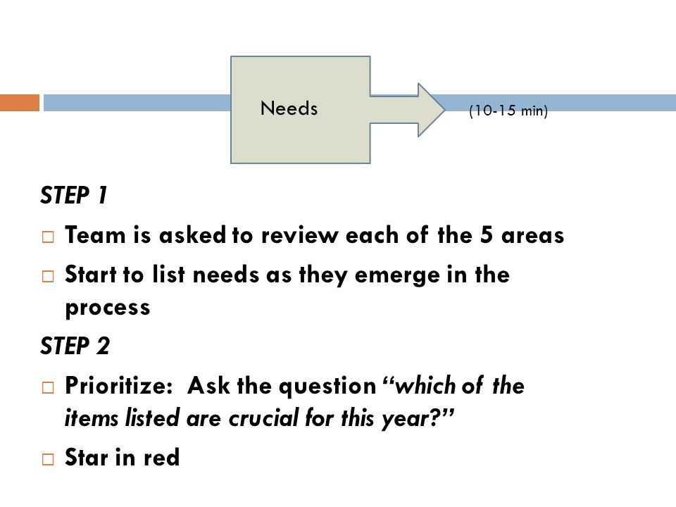"""STEP 1  Team is asked to review each of the 5 areas  Start to list needs as they emerge in the process STEP 2  Prioritize: Ask the question """"which"""