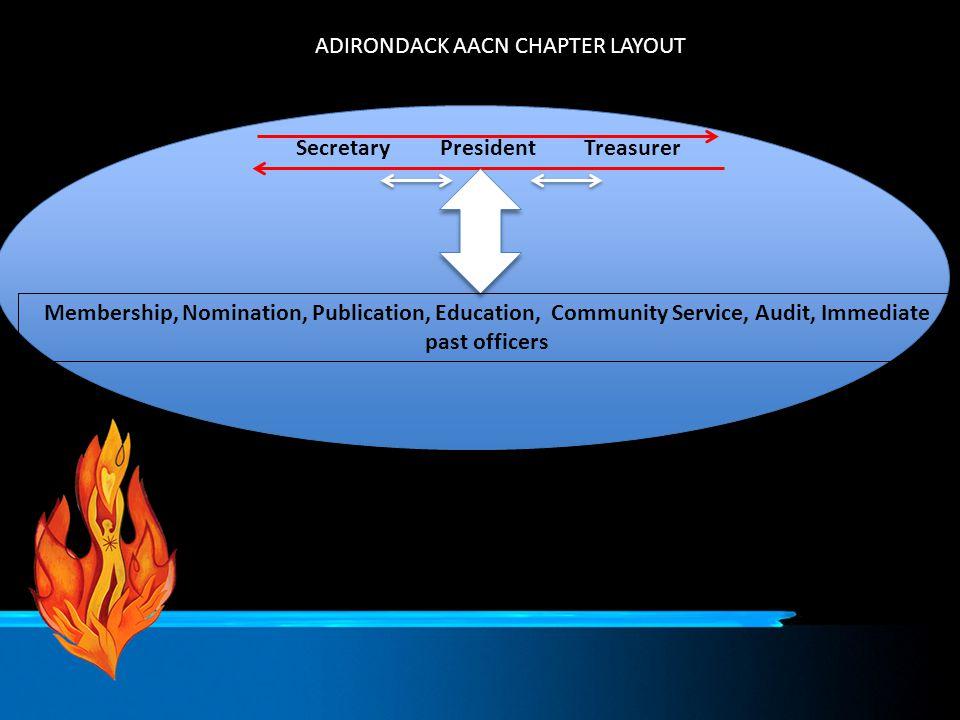 ADIRONDACK AACN CHAPTER LAYOUT SecretaryPresidentTreasurer Membership, Nomination, Publication, Education, Community Service, Audit, Immediate past of