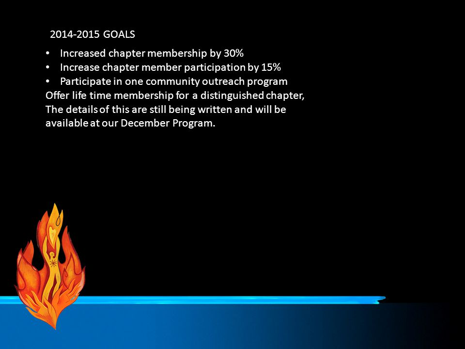2014-2015 GOALS Increased chapter membership by 30% Increase chapter member participation by 15% Participate in one community outreach program Offer l