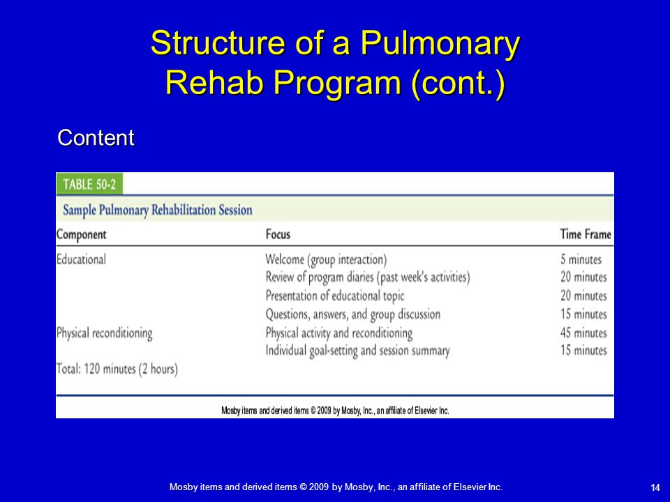 Mosby items and derived items © 2009 by Mosby, Inc., an affiliate of Elsevier Inc. 14 Structure of a Pulmonary Rehab Program (cont.) Content