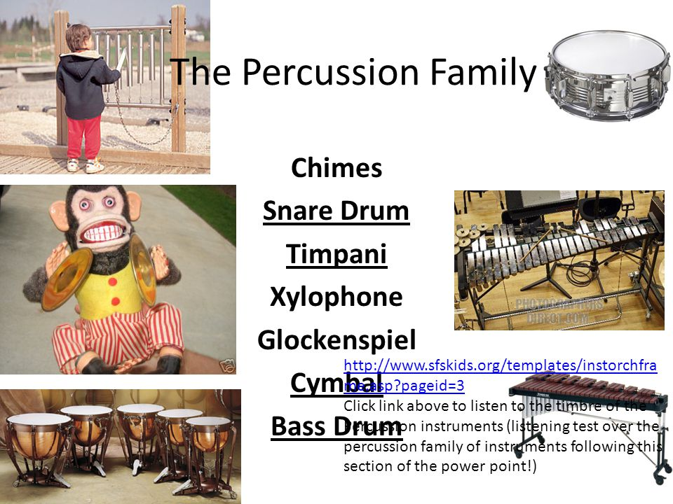 The Percussion Family Chimes Snare Drum Timpani Xylophone Glockenspiel Cymbal Bass Drum http://www.sfskids.org/templates/instorchfra me.asp?pageid=3 C
