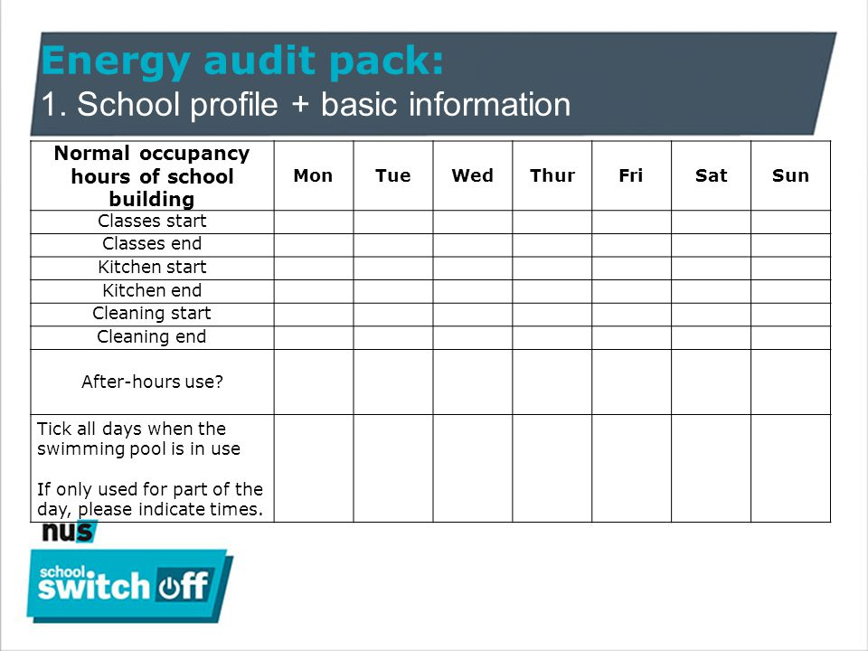 Energy audit pack: 1.