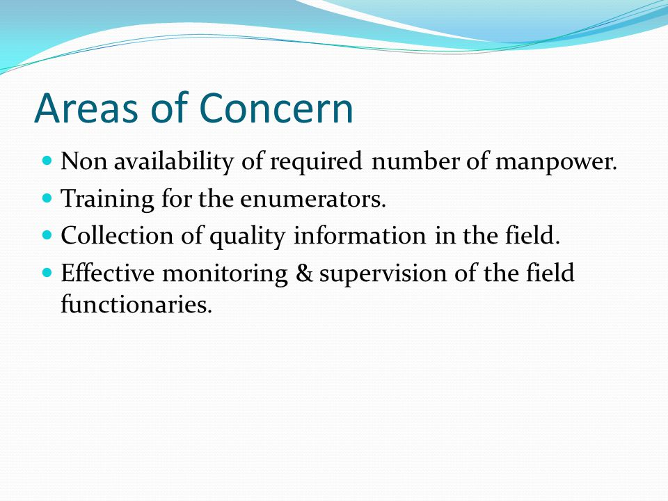 Areas of Concern Non availability of required number of manpower.