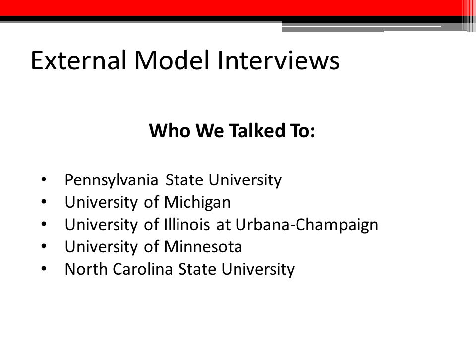 External Model Interviews Who We Talked To: Pennsylvania State University University of Michigan University of Illinois at Urbana-Champaign University