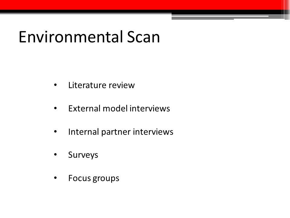 Environmental Scan Literature review External model interviews Internal partner interviews Surveys Focus groups