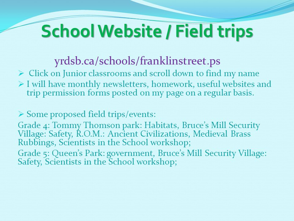 School Website / Field trips yrdsb.ca/schools/franklinstreet.ps  Click on Junior classrooms and scroll down to find my name  I will have monthly newsletters, homework, useful websites and trip permission forms posted on my page on a regular basis.