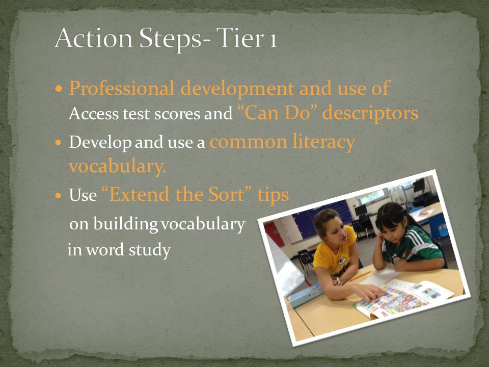 "Professional development and use of Access test scores and ""Can Do"" descriptors Develop and use a common literacy vocabulary. Use ""Extend the Sort"" ti"