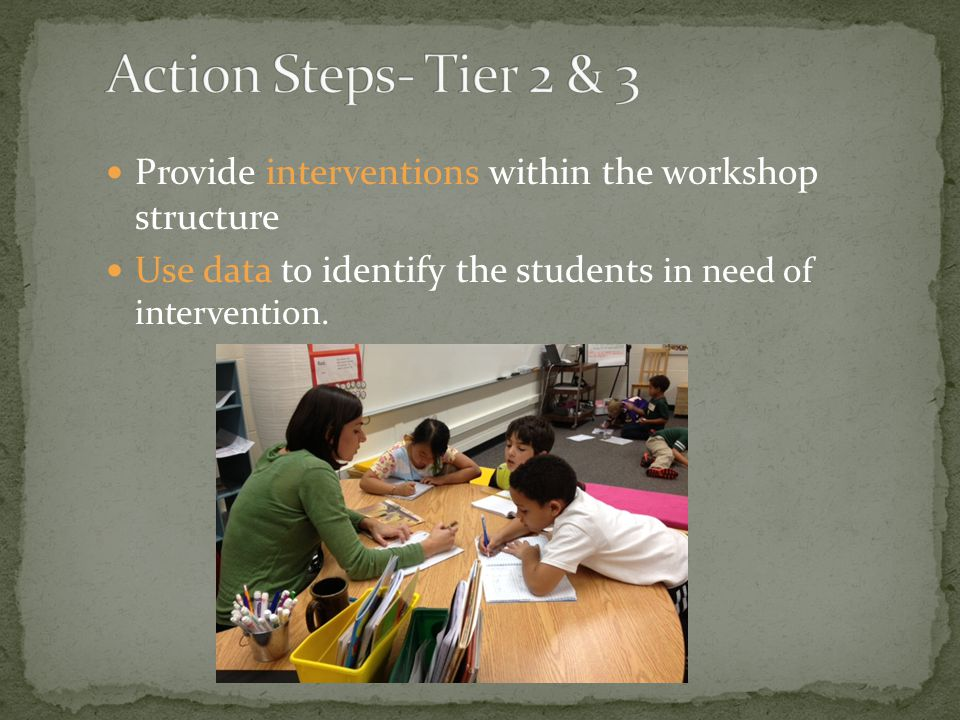 Provide interventions within the workshop structure Use data to identify the students in need of intervention.