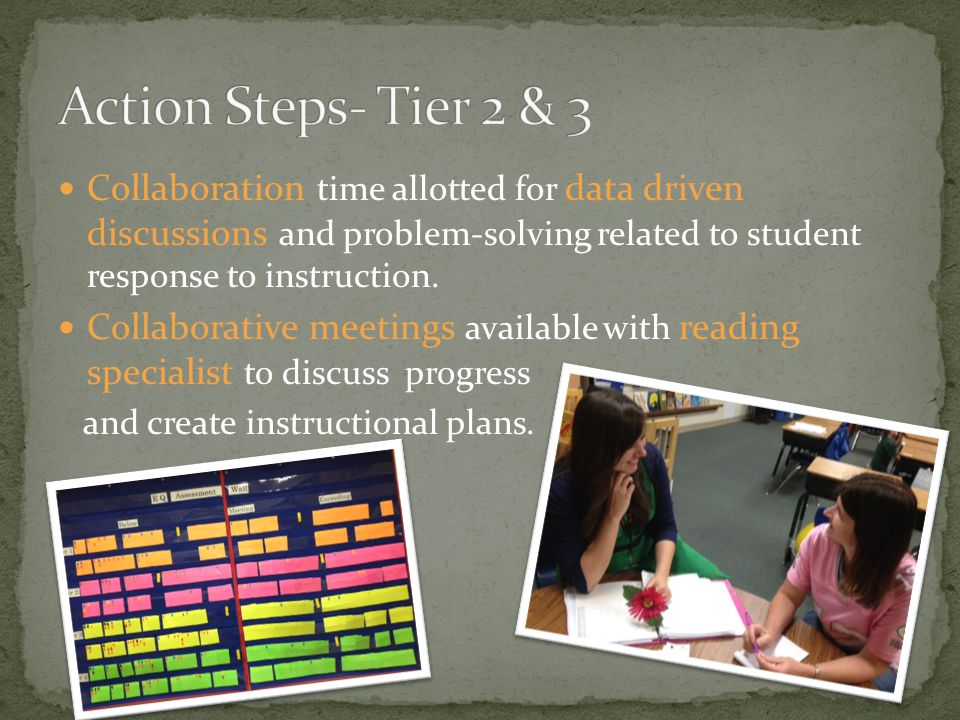 Collaboration time allotted for data driven discussions and problem-solving related to student response to instruction. Collaborative meetings availab