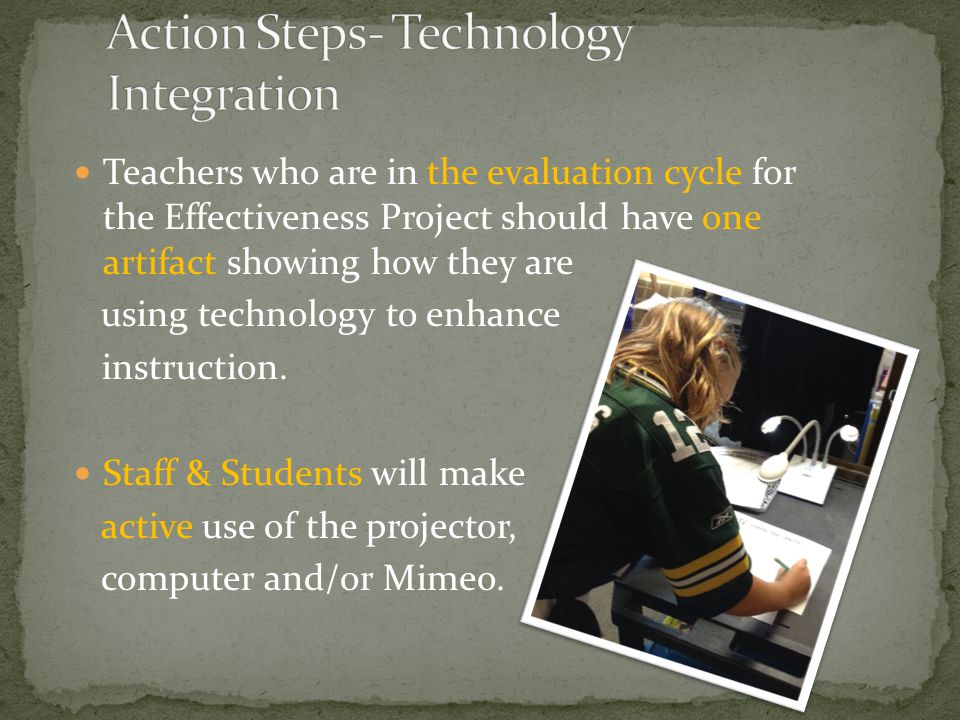 Teachers who are in the evaluation cycle for the Effectiveness Project should have one artifact showing how they are using technology to enhance instr