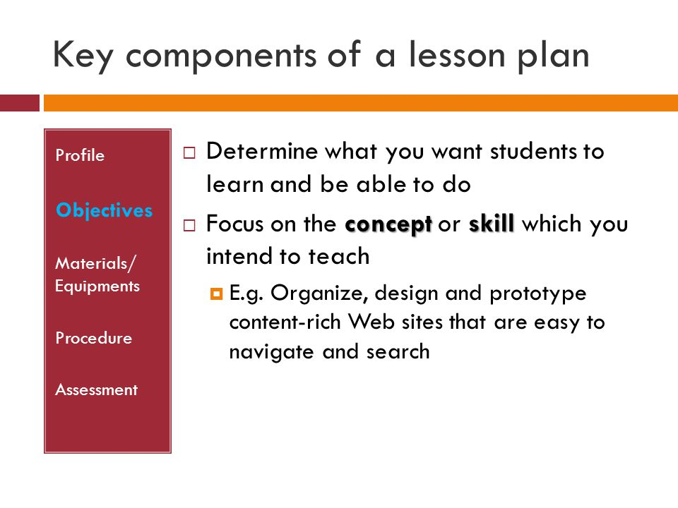 Key components of a lesson plan Profile Objectives Materials/ Equipments Procedure Assessment  Determine what you want students to learn and be able